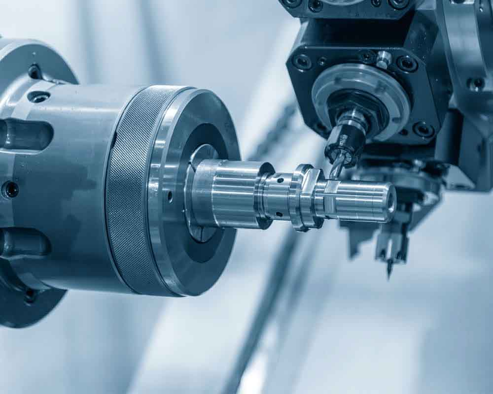 The Turn Mill Machine Cutting Groove At The Metal Shaft. The Hi Technology Parts Manufacturing Process By Cnc Lathe Machine .